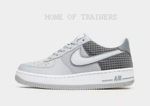 NIKE AIR FORCE 1 Low Grey White Black Kids Boys Girls Trainers All Sizes