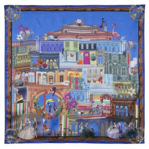 Blue-Russian-Silk-Pavlovo-Posad-Shawl-35x35-039-039-Square-Scarf