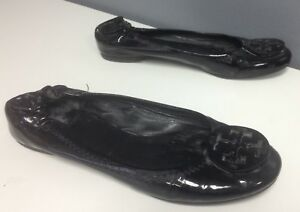 3d2e331cb TORY BURCH Black Patent Leather Elastic Back Logo Top Ballet Flats ...