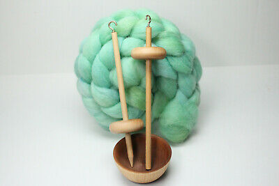 Complete Beginner Drop Spindle Spinning Kit Mini Size Blue Learn To Spin
