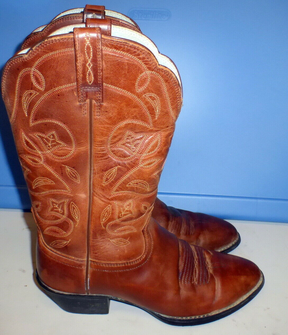 WOMENS ARIAT 10001015 HERITAGE R TOE BROWN WESTERN COWBOY STYLE BOOTS 7.5B