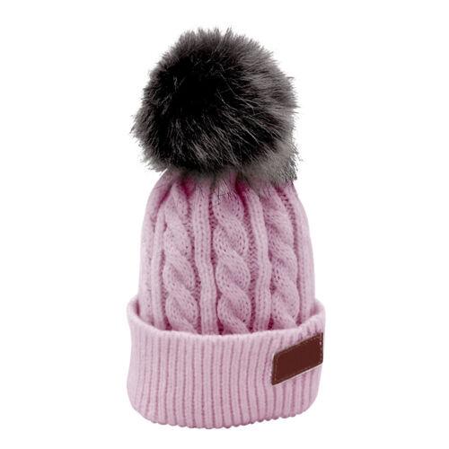 Kinder Baby Beanie Pompons Bommel Winter Strickmütze Bommelmütze Warm