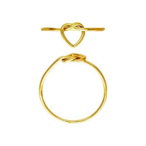 Oro Amarillo 14k lleno de corazón nudo diseño delgado Minimalista mujeres Pila Anillo 5-8