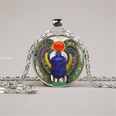 Glass Egyptian Scarab pendant, ancient egypt jewelry, Egypt necklace, Egyptian