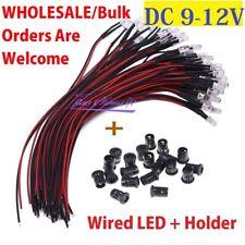 10 100pcs 3mm 5mm Pre Wired Led Holder Dc9 12v Diffused Lights Emitting Diodes
