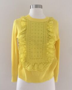 JCREW Eyelet Sweater In Summerweight Cotton XS Yellow Spring 2017 ...