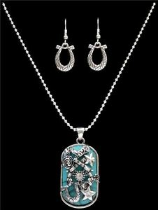 c0db63e3e SILVER STRIKE Western Silver & Turquoise Dog Tag Necklace & Earrings ...
