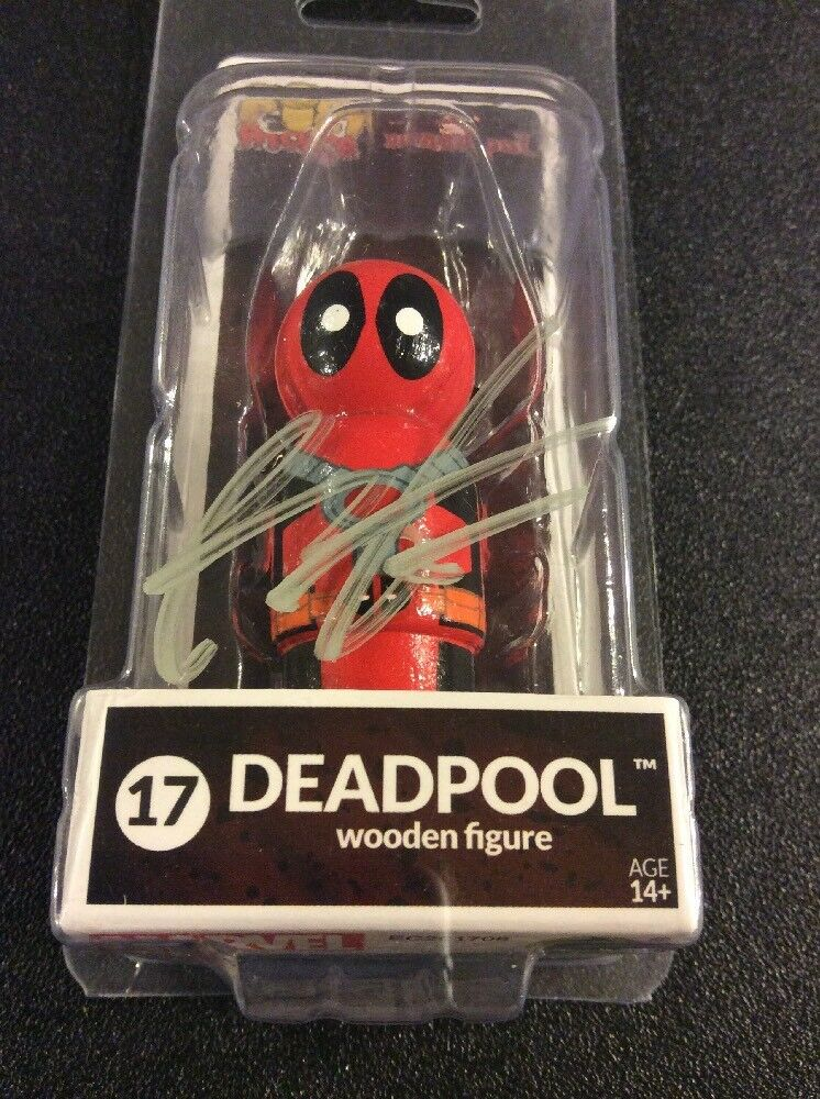 Fr deadpool, unterzeichnet von rob liefeld fr holz - pin - kumpel marionette abbildung sdcc