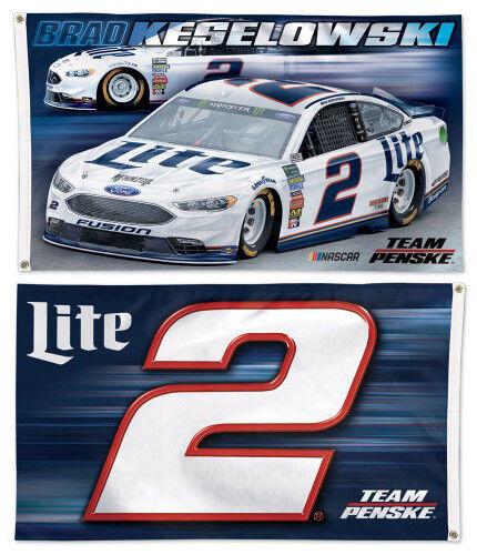 BRAD KESELOWSKI #2 Miller Lite Team Penske 2018 3/'x5/' 2-Sided Deluxe NASCAR FLAG