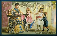 Blechschild Singer Nähmaschinen Frau Kinder Nostalgieschild Nähmaschine 20x30 cm