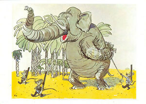 1989-Russian-postcard-MICE-WITH-RIFLES-ESCORT-THE-CAPTIVE-ELEPHANT-by-A-Kanevsky