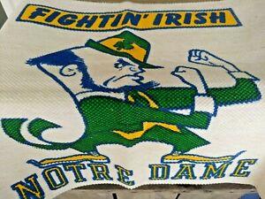 RARE Notre Dame FIGHTING IRISH 24x45 RUG Woven WALL Mat BLANKET Vintage Unused!