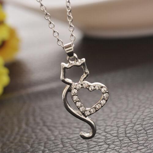Halskette Anhänger Katze mit Herz Strass  silber Geschenk Valentin #K6