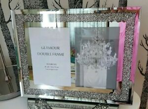 Glamour-Silver-Mirrored-Crushed-Crystal-Diamond-Double-Photo-Frame-4x6-10-15cm