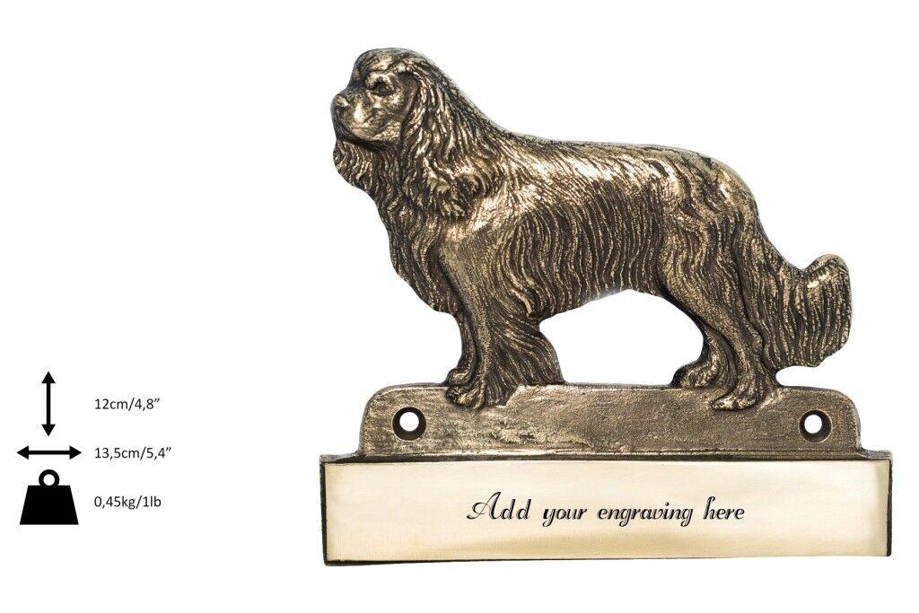 King Charles Spaniel  plaque de laiton avec un  en 'WELCOME' ArtDog FR type 2
