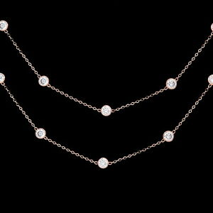 3CT T.W Created Diamond By The Yard Station Necklace Solid 925 Sterling Silver