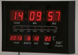 LED-Wanduhr-rot-mit-Datum-amp-Temperaturanzeige-guenstig-modern-Led-Uhr-Uhr-OVP