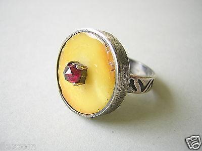 Zielstrebig Butterscotch Natur Bernstein Ring Böhmisch Granat 900 Silber 10,9 G/ Rg 58 Amber StäRkung Von Sehnen Und Knochen