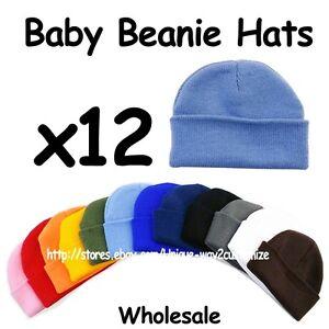 WHOLESALE LOT 12 BABY INFANT BEANIE HATS PLAIN SOLID BLANK ALL ... b371054e88e