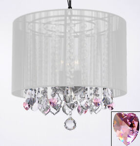 Crystal Chandelier With Pink Hearts Black