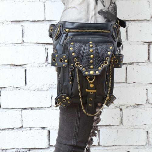 Men PU Vintage Waist Fanny Leg Bags Belt Motorcycle Punk Messenger Shoulder Pack