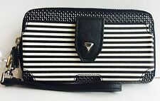 Stella & Dot Madison Tech Breton Stripe Black/Creme Wallet