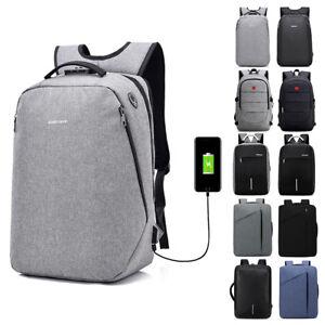 Anti-Theft-Men-Backpack-Waterproof-Laptop-School-Bag-Travel-Rucksack-Bag-w-USB