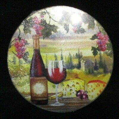 "Round 8"" Diameter Glass Cutting Board Set Of 2 Wine And Cheese Square 8"" x 8"""