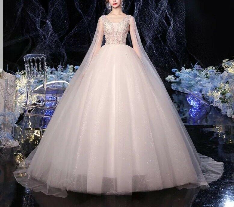 UK White/ivory Sequins Tulle Sleeveless A Line Cheap Wedding Dresses Size 6-22