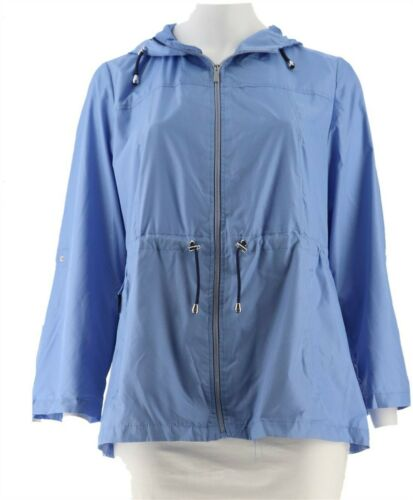 Susan Graver Packable Anorak Jacket Hood Periwinkle Blue 1X NEW A287942