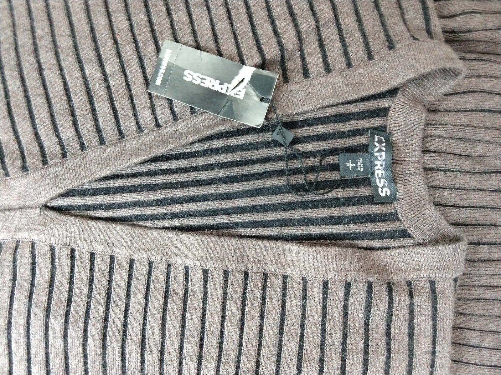 NWT Express Express Express Sweater (88  retail) Dress Women's Size S Small brown stripped c0500e