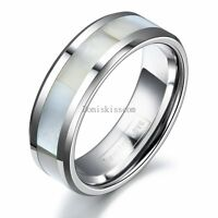 8mm Tungsten Carbide Ring White Shell Men's Women's Beveled Edge Wedding Band