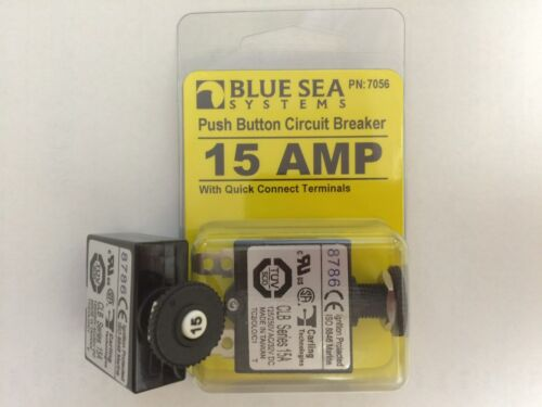 CIRCUIT BREAKER BLUE SEA PUSH TO RESET 661-7056 15 AMP CLB 2 PAC CARLING MARINE