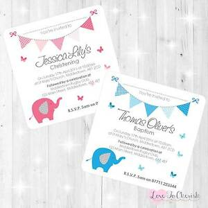 personalised christening baptism invites elephant butterflies
