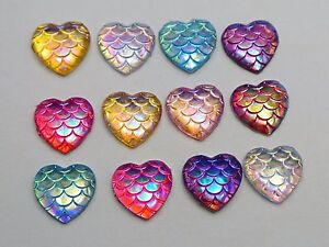100-Mixed-Colour-AB-Flatback-Resin-Fish-Scale-Pattern-Heart-Cabochon-12mm