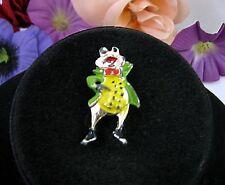 FROGGIE GOES A' COURTIN!  Vintage FROG TOAD PIN Green Enamel Brooch Goldtone