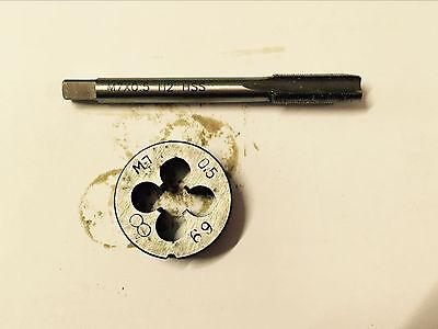 1pc HSS Machine M8 X 0.5mm Plug Tap and 1pc M8 X 0.5mm Die Threading Tool