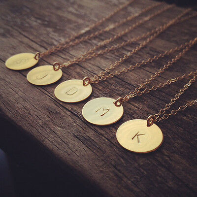 Initial necklace personalized Discs Charm Custom Letter Jewelry Gift friendship