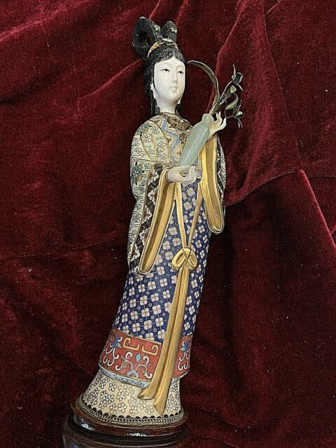 Vintage Chinese Cloisonne Female Figurine. Carved Face & Hand. 12.5