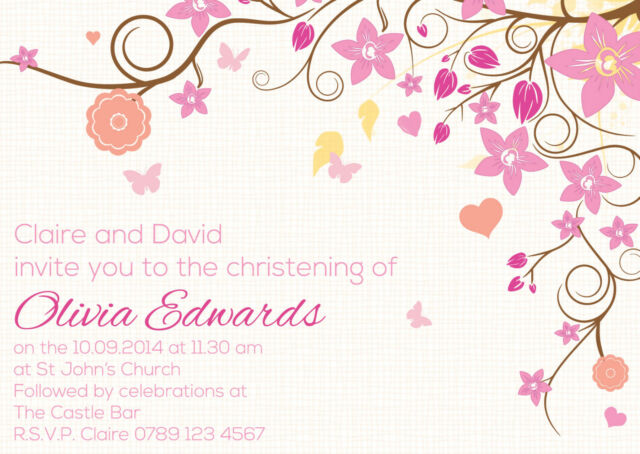 50 x Personalised Girls Christening/Baptism/Naming Day Party Invitations C002