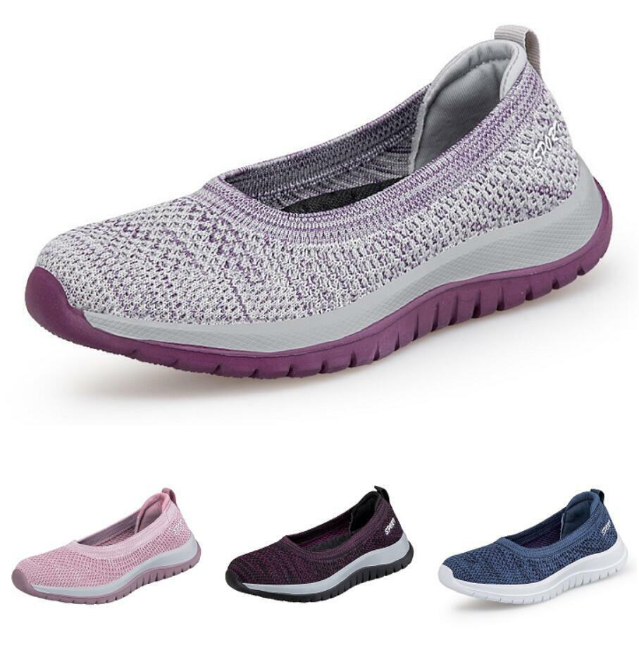 Womens Lightweight Slip On Flats Walking Fitness Shoes Summer Breathable 35-41 B