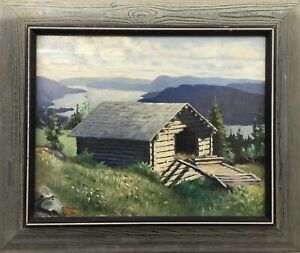 Log-Memory-At-Fjord-Norway-Norge-1931-Oil-Painting-Signed-20-1-2x24-3-8in