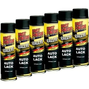 6x-500ml-Fast-Finish-Lackspray-Schwarz-Matt-Dose-Lack-Autolack-292828