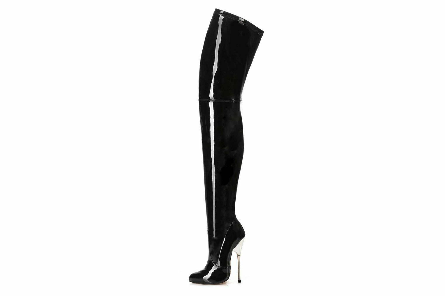 Giaro bigger negro Shiny botas en talla extragrande negro grandes zapatos señora