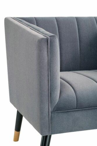 Velvet Upholstered Armchair Navy Blue Accent Cocktail Chair Ribbed Jackson