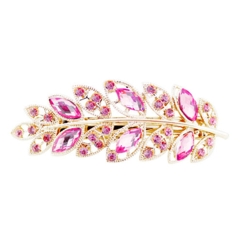 Exquisite Leaf Crystal Rhinestone Barrette Hairpin Hair Clip Headband New ZY