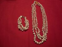Mother Of Pearl Beaded 3-strand Necklace & Bracelet Set-621.50 Carats