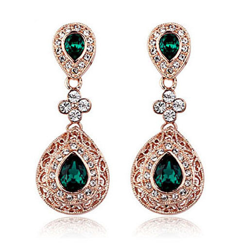 Vintage Design Long Luxury Teardrop Gold Emerald Green Drop Earrings E648 Ebay