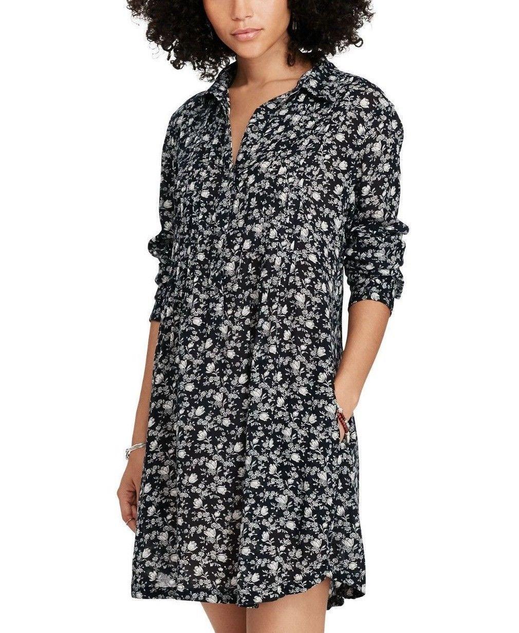 3879852d223c Ralph Lauren denim denim denim   supply Women s NWT bluee Floral Mini Shirt  Dress Sz XS ...