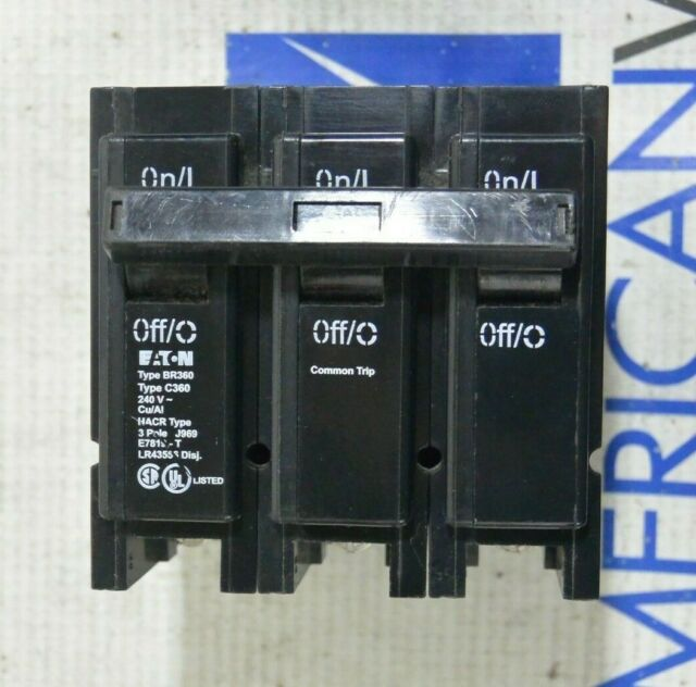 Brand New BR360 Eaton Plug-On Circuit Breaker 3 Pole 60 Amp
